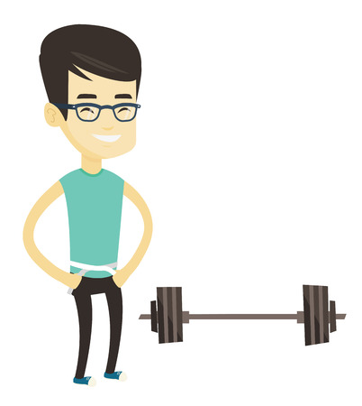 Asian man measuring waistline with tape. Man measuring with tape a waistline. Man with centimeter on a waistline standing near a barbell. Vector flat design illustration isolated on white background.