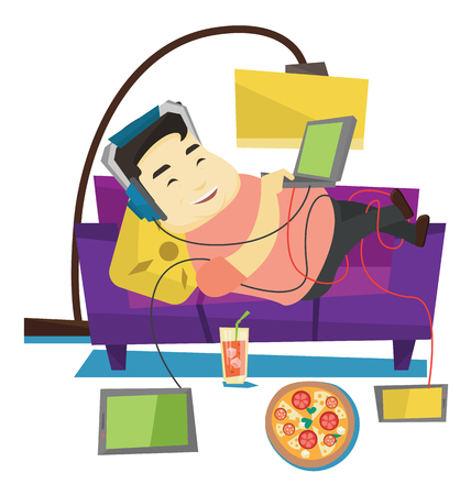 Asian fat man relaxing on a sofa with many gadgets. Man lying on a sofa surrounded by gadgets and fast food. Plump man using many gadgets. Vector flat design illustration isolated on white background.