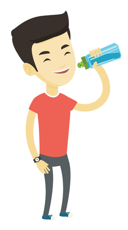 Asian sportsman drinking water. Young happy sportsman standing with bottle of water. Smiling sportsman drinking water from the bottle. Vector flat design illustration isolated on white background.
