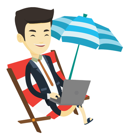 laptop outside: Asian business man working on beach. Young business man sitting in chaise lounge under beach umbrella. Business man using laptop on beach. Vector flat design illustration isolated on white background. Illustration