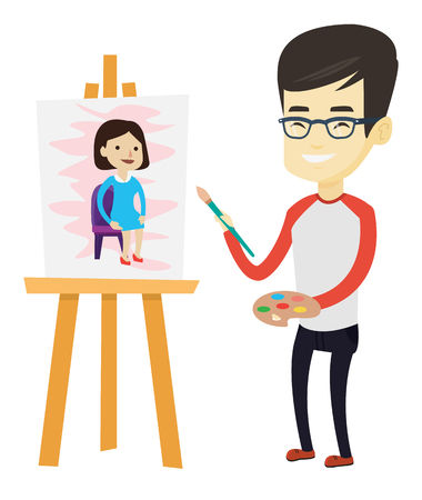 Young asian man painting a female model on canvas. Creative smiling male artist drawing on an easel. Cheerful artist working on a painting. Vector flat design illustration isolated on white background Illustration
