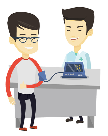 Young asian man checking blood pressure with digital blood pressure meter. Man giving thumb up while doctor measures his blood pressure. Vector flat design illustration isolated on white background.