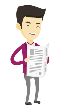 Cheerful asian man reading the newspaper. Young smiling man reading good news in newspaper. Man standing with newspaper in hands. Vector flat design illustration isolated on white background.