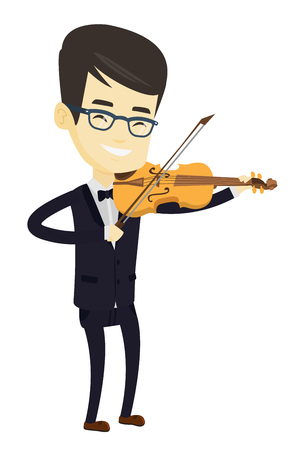 Asian musician standing with violin. Young smiling musician playing violin. Cheerful violinist playing classical music on violin. Vector flat design illustration isolated on white background.
