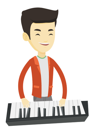 Asian pianist playing on synthesizer. Young smiling musician playing piano. Cheerful pianist playing upright piano. Vector flat design illustration isolated on white background.
