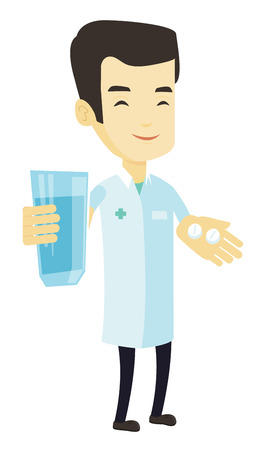 Young asian pharmacist holding a glass of water and pills in hands. Smiling pharmacist in medical gown. Pharmacist giving medication. Vector flat design illustration isolated on white background.