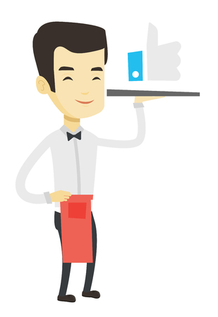 Asian waiter carrying tray with social network like button. Waiter holding restaurant tray with like button. Social networking concept. Vector flat design illustration isolated on white background.
