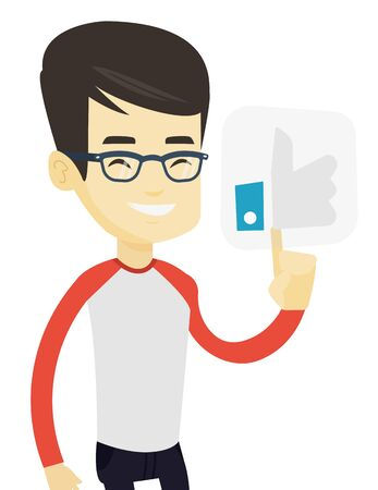 Asian man pressing social network button with thumb up. Young man pressing like button. Smiling man pressing social network like button. Vector flat design illustration isolated on white background.