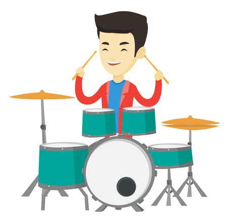 Asian mucisian playing on drums. Young mucisian playing on drums. Mucisian playing on drum kit. Happy man sitting behind the drum kit. Vector flat design illustration isolated on white background.