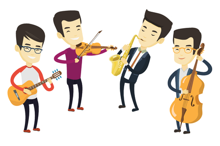 Group of asian musicians playing on musical instruments. Musicians playing on musical instruments. Musicians performing with instruments. Vector flat design illustration isolated on white background. Vectores