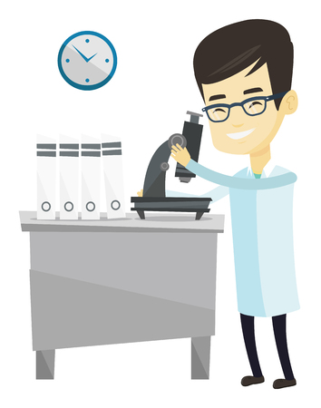 Asian laboratory assistant working with microscope. Young scientist working at the laboratory. Laboratory assistant using a microscope. Vector flat design illustration isolated on white background.