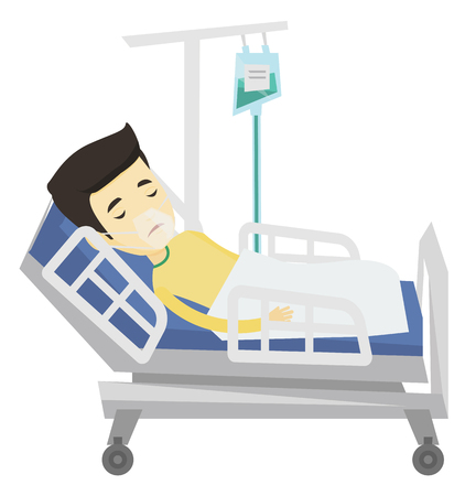 Asian patient in oxygen mask lying in hospital bed. Patient during medical procedure with drop counter. Patient recovering in hospital. Vector flat design illustration isolated on white background.