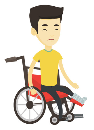 Asian man with leg in plaster suffering from pain. Man sitting in wheelchair with broken leg. Man with fractured leg sitting in wheelchair. Vector flat design illustration isolated on white background Illustration