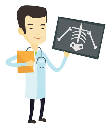 Asian doctor examining a radiograph. Young doctor in medical gown looking at a chest radiograph. Doctor observing a skeleton radiograph. Vector flat design illustration isolated on white background.