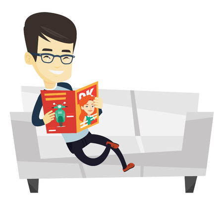 Young asian man reading a magazine. Man sitting on sofa and reading a magazine. Smiling man sitting on the couch with magazine in hands. Vector flat design illustration isolated on white background.