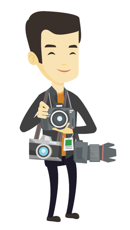 Young asian photographer with many photo cameras equipment. Happy paparazzi with many cameras. Professional journalist with many cameras. Vector flat design illustration isolated on white background.
