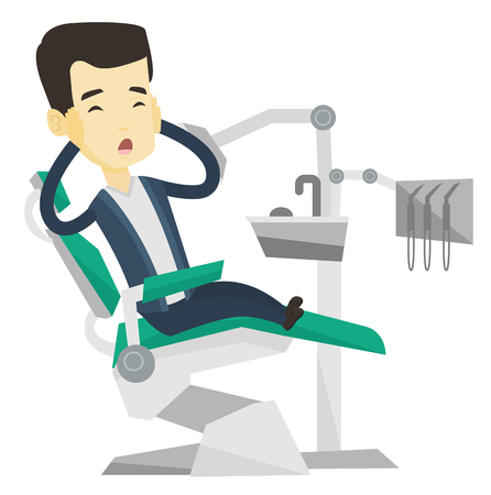 frightful: Frightened asian patient sitting in dentist office. Scared young man visiting dentist in dental clinic. Afraid man sitting in dental chair. Vector flat design illustration isolated on white background Illustration