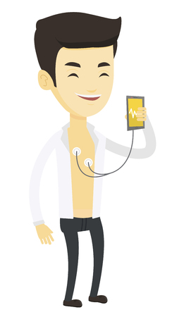 Man checking blood pressure with smartphone application. Man taking care of his health and measuring heart rate pulse with smartphone app. Vector flat design illustration isolated on white background.