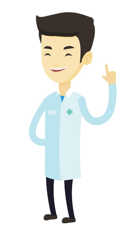 forefinger: Young asian doctor with finger up. Cheerful doctor in medical gown showing finger up. Man in doctor uniform pointing finger up. Vector flat design illustration isolated on white background. Illustration