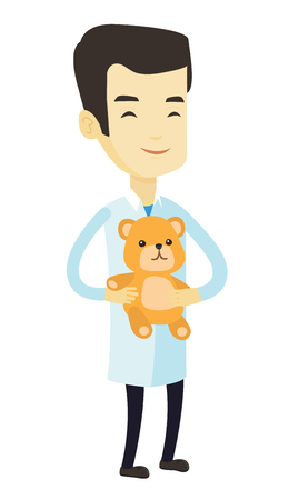 hospital ward: Pediatrician doctor holding teddy bear. Cheerful pediatrician doctor standing with a teddy bear. Young asian pediatrician in medical gown. Vector flat design illustration isolated on white background.