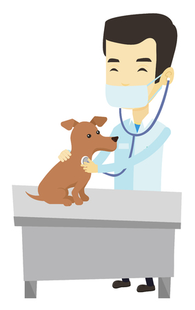 Young asian veterinarian examining dog in hospital. Veterinarian checking heartbeat of dog with stethoscope. Medicine and pet care concept. Vector flat design illustration isolated on white background Ilustrace