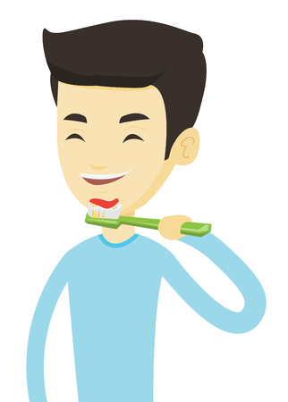 Young asian man brushing his teeth. Smiling man cleaning his teeth. Man taking care of his teeth. Cheerful guy with toothbrush in hand. Vector flat design illustration isolated on white background. Illustration
