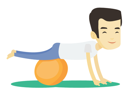 Young asian man exercising with fitball. Man training triceps and biceps while doing push ups on fitball. Man doing exercises on fitball. Vector flat design illustration isolated on white background. Illustration