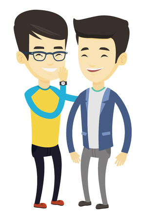 Young asian man shielding his mouth and whispering a gossip to his friend. Two men sharing gossips. Smiling friends discussing gossips. Vector flat design illustration isolated on white background.