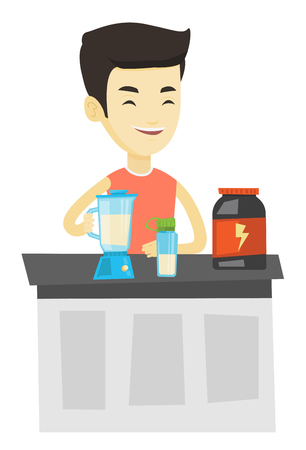 cocktail mixer: Man preparing protein cocktail of bodybuilding food supplements. Man making protein shake using blender. Man cooking protein cocktail. Vector flat design illustration isolated on white background. Illustration
