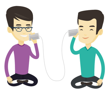 tin can phone: Men discussing something using tin can telephone. Man getting message from friend on tin can phone. Friends talking through a tin phone. Vector flat design illustration isolated on white background.