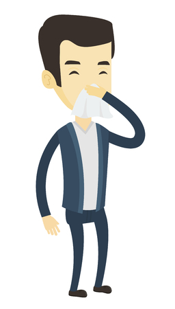 influenza: Young asian man blowing nose to paper napkin. Sick man sneezing with closed eyes. Man having an allergy and blowing nose to a tissue. Vector flat design illustration isolated on white background.