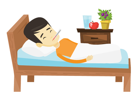 Asian sick man with fever laying in bed. Young sick man measuring temperature with thermometer. Sick man suffering from cold or flu virus. Vector flat design illustration isolated on white background.