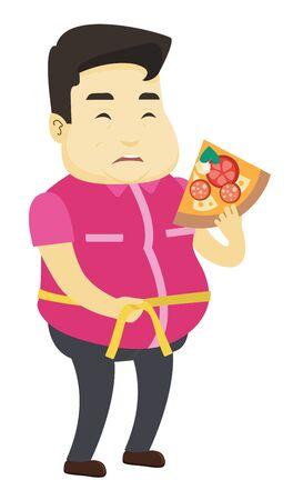 Grasso uomo asiatico azienda fetta di pizza e misurazione girovita. Uomo grasso che misura il girovita con nastro. Uomo grasso con centimetro sul giro vita. Illustrazione di disegno piatto di vettore isolato su sfondo bianco.