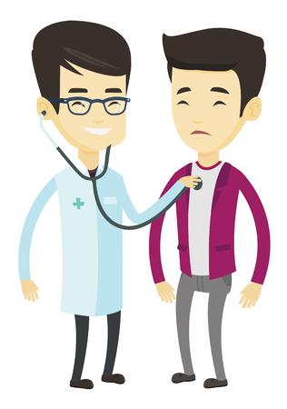 Doctor asiático joven que escucha el pecho del paciente con el estetoscopio. Médico visitante paciente enfermo. Doctor examinando el tórax de un paciente. Ilustración de diseño plano de vector aislado sobre fondo blanco. Foto de archivo - 76043354