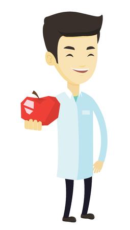 Jeune nutritionniste asiatique prescrivant un régime alimentaire et une alimentation saine. Diététicien souriant tenant une pomme. Nutritionniste offrant une pomme rouge fraîche. Vector illustration de conception plate isolé sur fond blanc