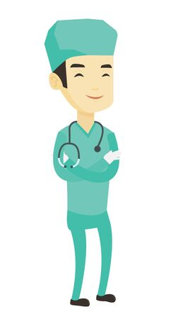 Young asian confident surgeon in medical uniform. Full length of surgeon standing with arms crossed. Surgeon with stethoscope on his neck. Vector flat design illustration isolated on white background.