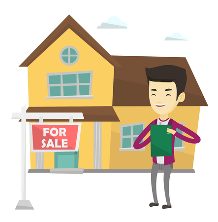 signing agent: Young asian real estate agent standing in front of the house with placard for sale. Happy real estate agent signing home purchase contract. Vector flat design illustration isolated on white background Illustration