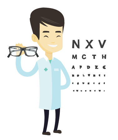 Asian ophthalmologist giving glasses. Ophthalmologist holding eyeglasses on the background of eye chart. Ophthalmologist offering glasses. Vector flat design illustration isolated on white background.