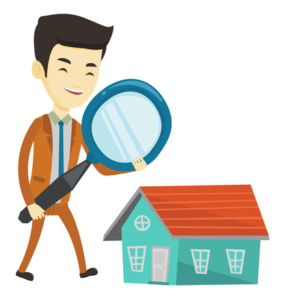 Asian man using a magnifying glass for looking for a new house. Man with magnifying glass checking house. Man analyzing house with loupe. Vector flat design illustration isolated on white background.