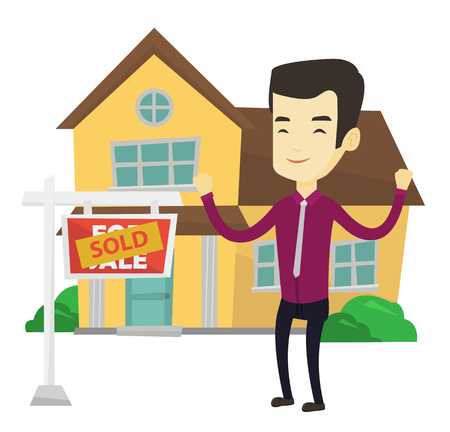 Excited asian real estate agent standing in front of sold real estate placard and house. Successful real estate agent who sold a house. Vector flat design illustration isolated on white background.