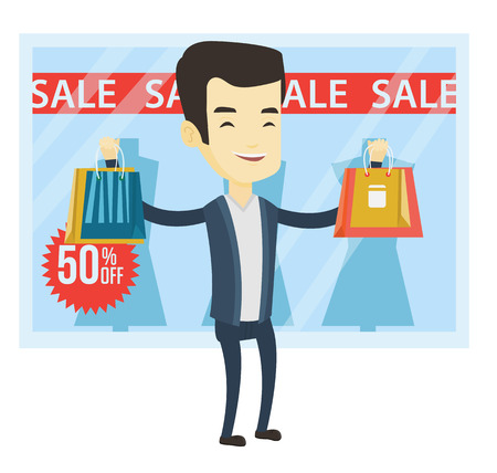 Man with shopping bags standing in front of clothes shop with sale sign. Man holding shopping bags in front of storefront with text sale. Vector flat design illustration isolated on white background.