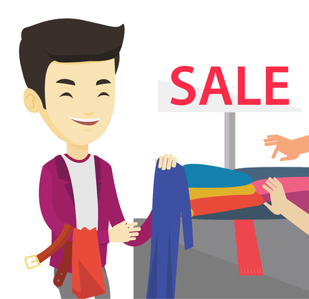 Asian man choosing clothes in shop on sale. Customer buying clothes at the store on sale. Young man shopping in clothes shop on sale. Vector flat design illustration isolated on white background.