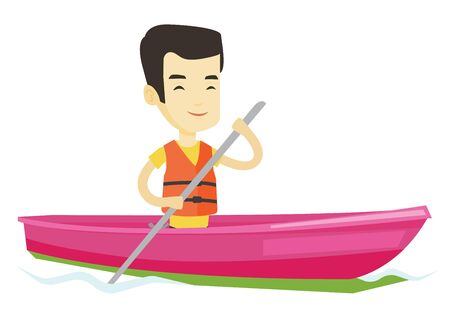 Young asian man traveling by kayak. Sportsman riding in a kayak in the river. Male kayaker paddling. Sportsman paddling a canoe. Vector flat design illustration isolated on white background. Illustration