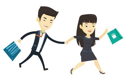 Giovani clienti asiatici che corrono alla promozione e alla vendita. Persone che corrono in vendita al negozio. Coppia, correre, fretta, negozio, in, vendita. Illustrazione di disegno piatto di vettore isolato su sfondo bianco.