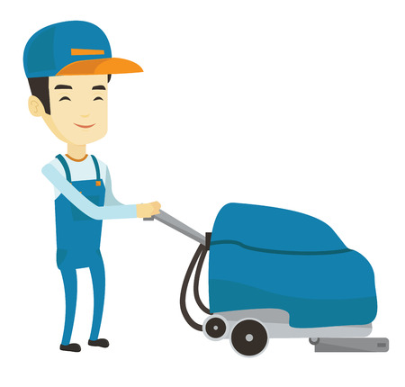 cleaning service: Young asian man cleaning supermarket floor. Man working with cleaning machine. Cheerful male worker of cleaning services in supermarket. Vector flat design illustration isolated on white background.