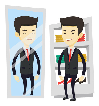 Young asian man looking at himself in a mirror in dressing room. Man trying on suit in dressing room. Man choosing suit in dressing room. Vector flat design illustration isolated on white background.