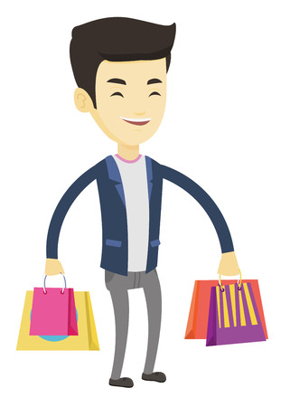 Happy asian man carrying shopping bags. Young smiling man holding shopping bags. Man standing with a lot of shopping bags. Vector flat design illustration isolated on white background. Illustration