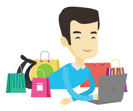 Asian man using laptop for online shopping. Man lying with laptop and making online shopping order. Man doing online shopping at home. Vector flat design illustration isolated on white background.