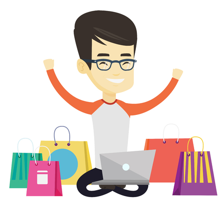 Asian man with hands up using laptop for shopping online. Happy customer sitting with shopping bags around him. Man doing online shopping. Vector flat design illustration isolated on white background.