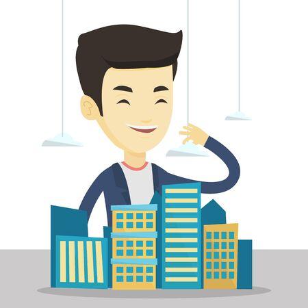 Agente immobiliare asiatico che presenta un modello di nuovo quartiere della città. Responsabile delle vendite che lavora con un progetto di un nuovo distretto della città. Vector design piatto illustrazione isolato su sfondo bianco Vettoriali